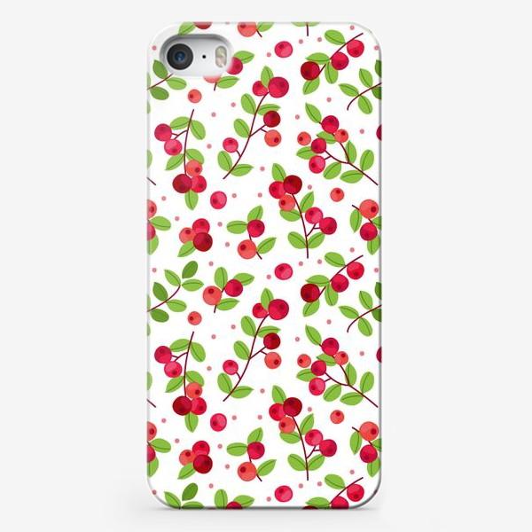 Чехол iPhone «Яркий паттерн с красными ягодами, калина»
