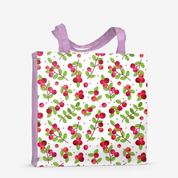 Сумка-шоппер «Яркий паттерн с красными ягодами, калина»