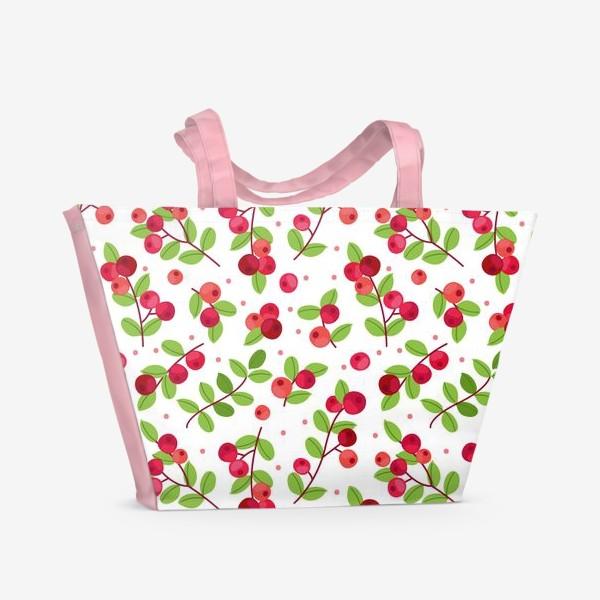 Пляжная сумка «Яркий паттерн с красными ягодами, калина»