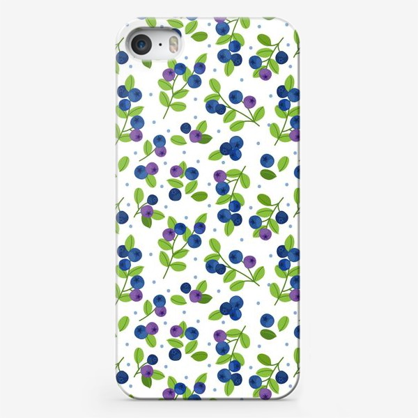 Чехол iPhone «Яркий паттерн с синими ягодами, черника, голубика»