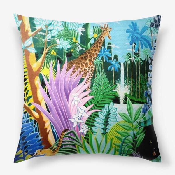 Подушка «Джунгли, жираф, пантера»