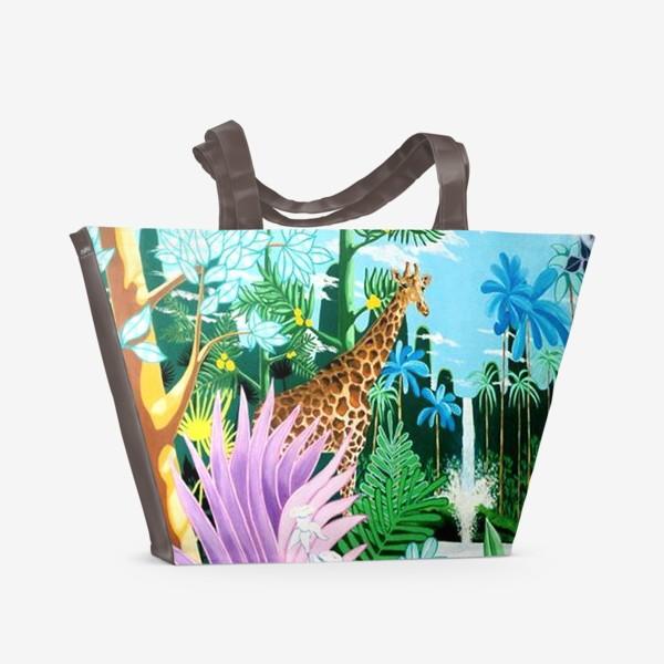 Пляжная сумка «Джунгли, жираф, пантера»