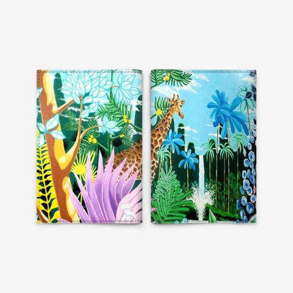 Обложка для паспорта «Джунгли, жираф, пантера»