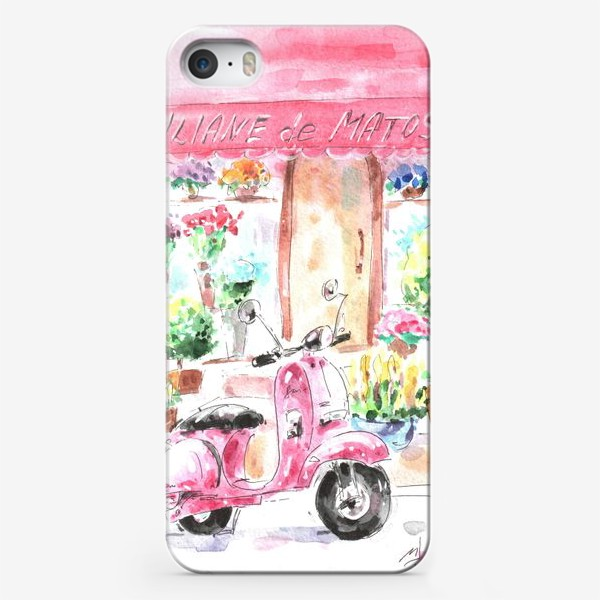 Чехол iPhone «Розовый мопед»