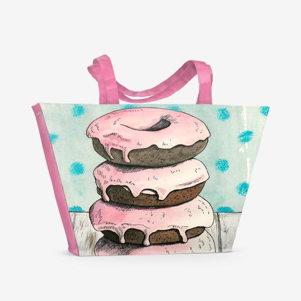 Пляжная сумка «Розовые пончики»