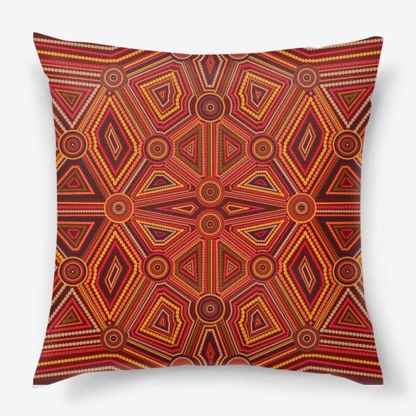 Подушка «Абстракция в стиле искусства австралийских аборигенов»