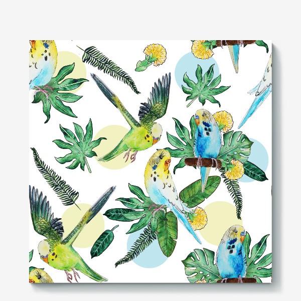 Холст «Волнистые попугайчики»