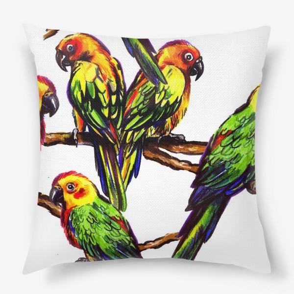 Подушка «попугаи»