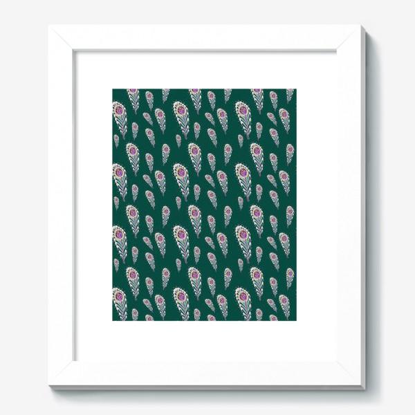 Картина «Расписные перья павлинов на зеленом фоне»