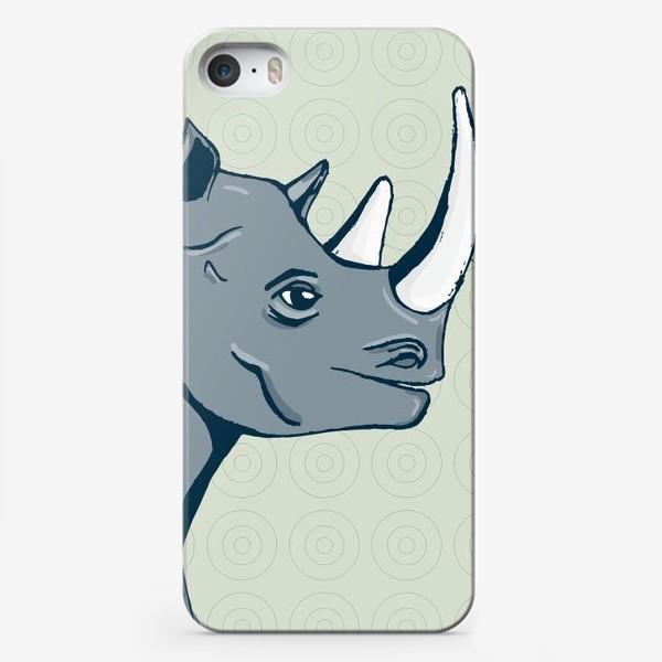 Чехол iPhone «Африканский носорог в рисованном стиле»
