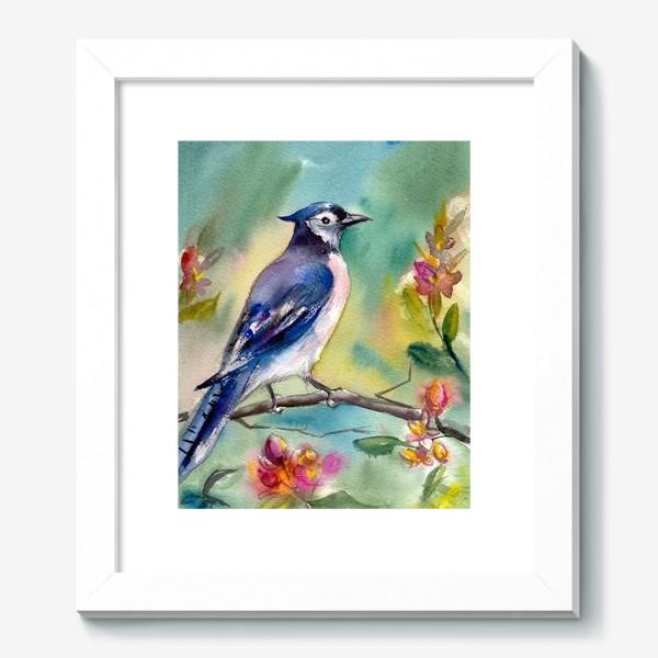 Картина «Птица акварельная на ветке»