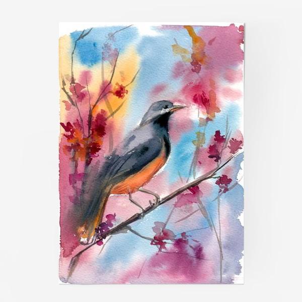 Постер «Яркая птица на ветке в цветах»