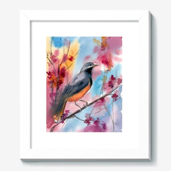 Картина «Яркая птица на ветке в цветах»