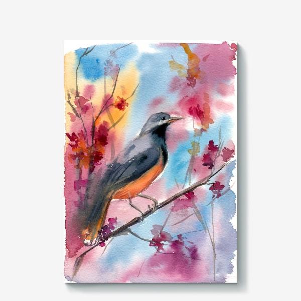 Холст «Яркая птица на ветке в цветах»