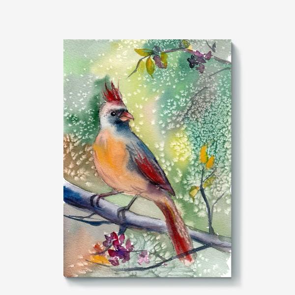 Холст «Ярка птичка с хохолком на ветке»