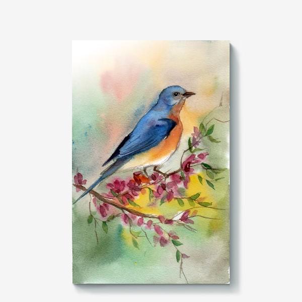 Холст «Яркая птичка в цветах»
