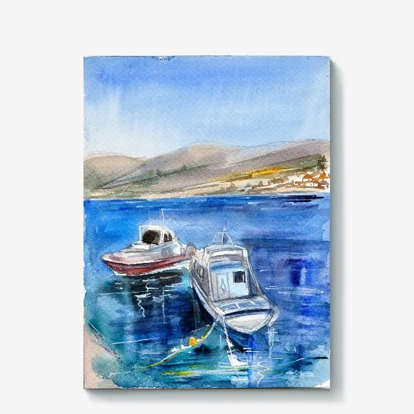 Холст «Морской пейзаж с лодками»