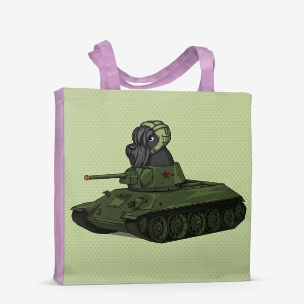 Сумка-шоппер «Собака на игрушечном танке т-34 Шотландский скотч терьер»