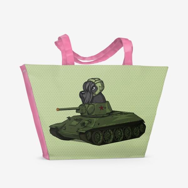 Пляжная сумка «Собака на игрушечном танке т-34 Шотландский скотч терьер»