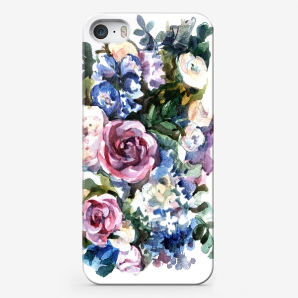 Чехол iPhone «Голубой букет»