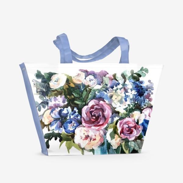 Пляжная сумка «Голубой букет»