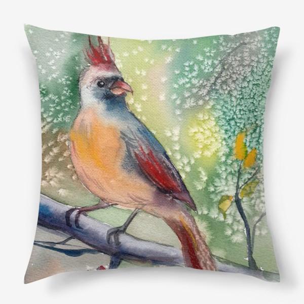 Подушка «Ярка птичка с хохолком на ветке»