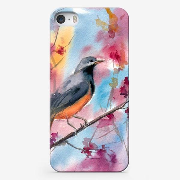 Чехол iPhone «Яркая птица на ветке в цветах»