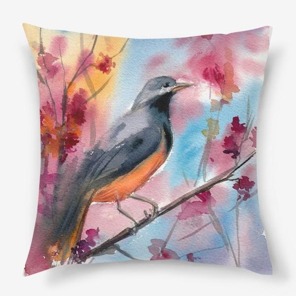 Подушка «Яркая птица на ветке в цветах»