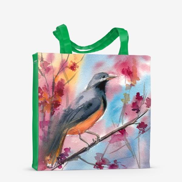 Сумка-шоппер «Яркая птица на ветке в цветах»