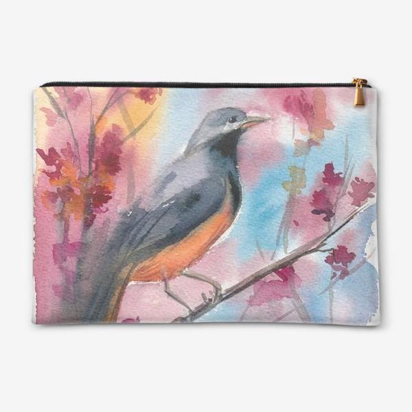 Косметичка «Яркая птица на ветке в цветах»