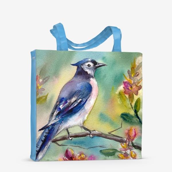 Сумка-шоппер «Птица акварельная на ветке»