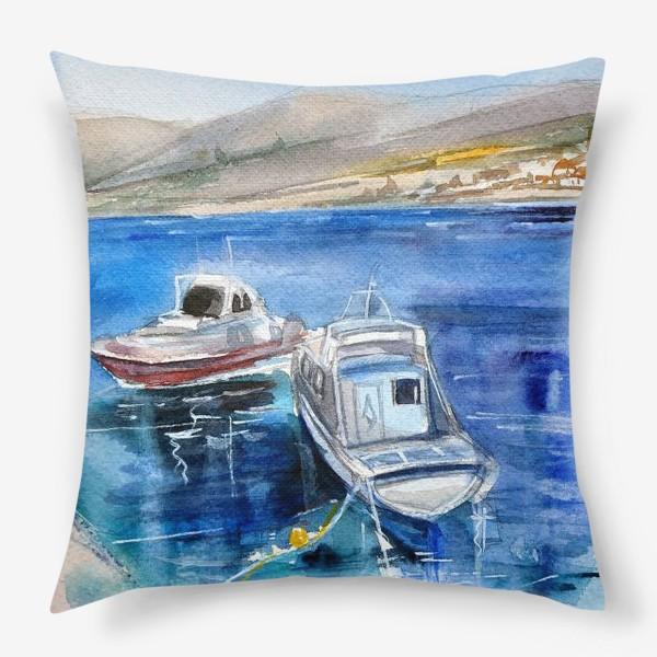Подушка «Морской пейзаж с лодками»