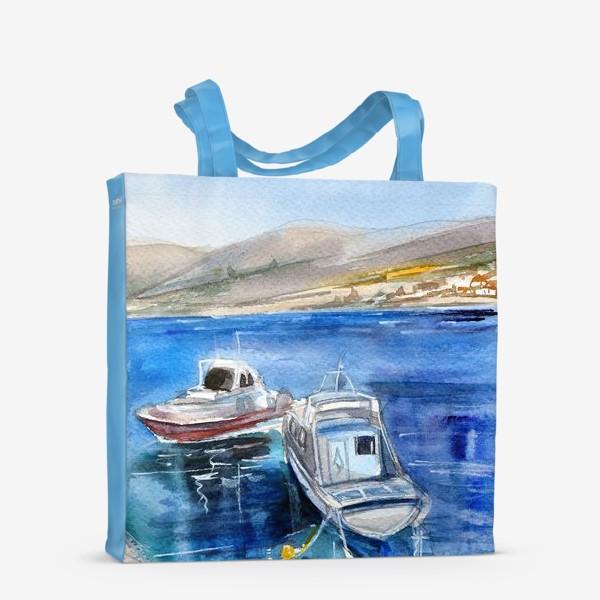 Сумка-шоппер «Морской пейзаж с лодками»