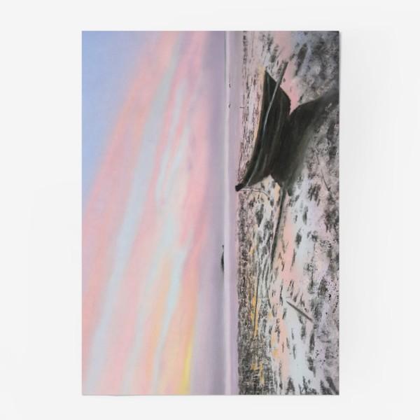 Постер «закат на море с лодкой»