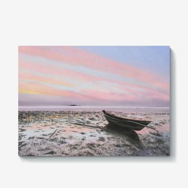 Холст «закат на море с лодкой»
