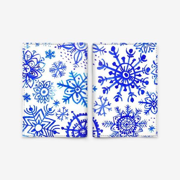 Обложка для паспорта «Снежинки гжель»