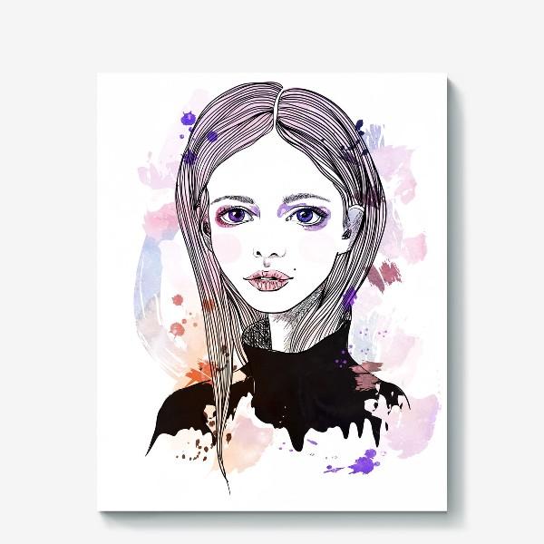 Холст «Девушка с фиалковыми глазами»