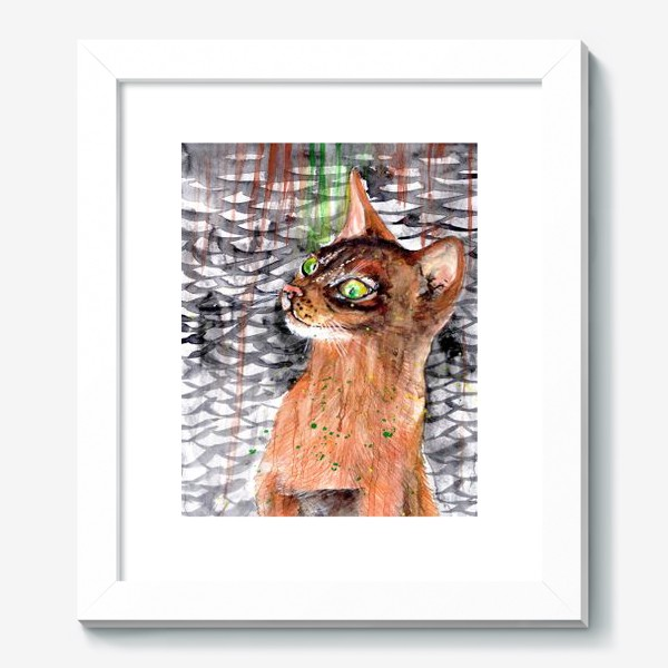 Картина «Рыжая кошка мечтает о рыбке»