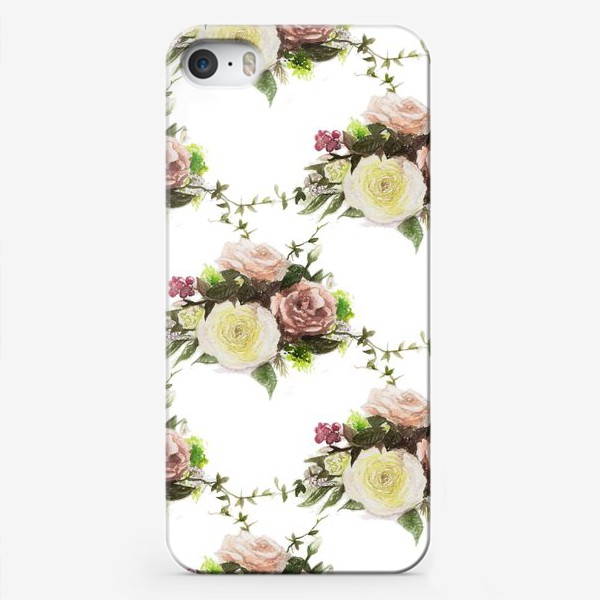 Чехол iPhone «Букет летний паттерн»