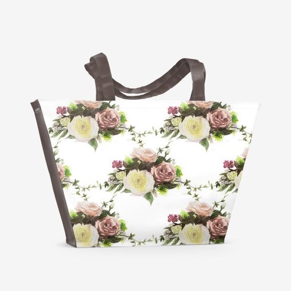 Пляжная сумка «Букет летний паттерн»