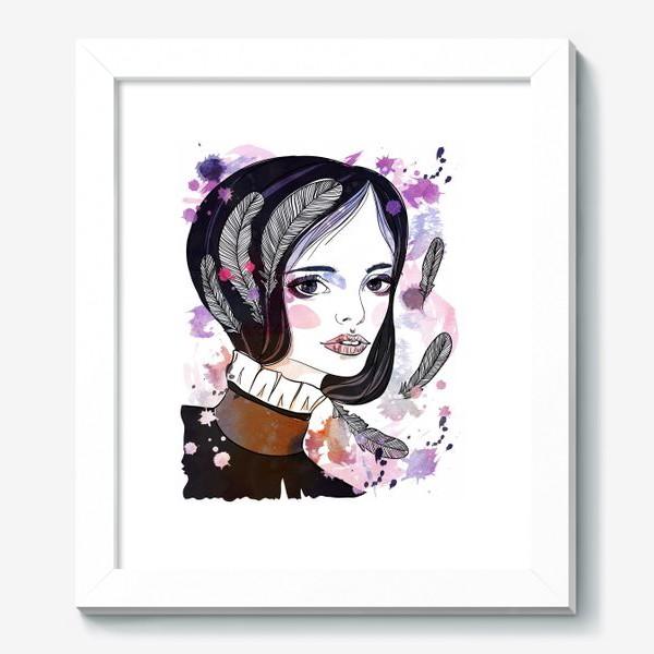 Картина «Девушка с перьями в волосах»