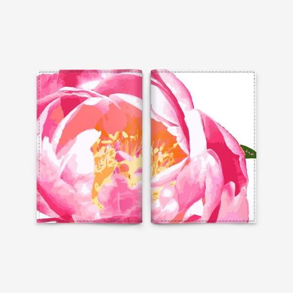 Обложка для паспорта «Пион в стиле поп-арт»