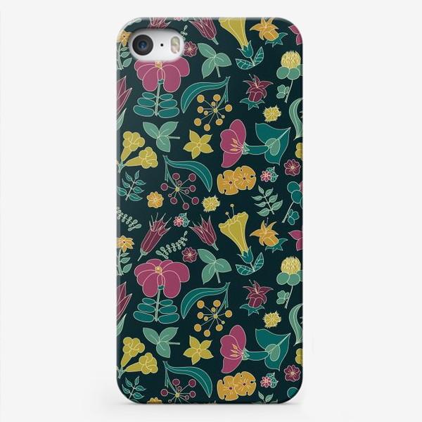 Чехол iPhone «Тропические цветы на черном фоне»