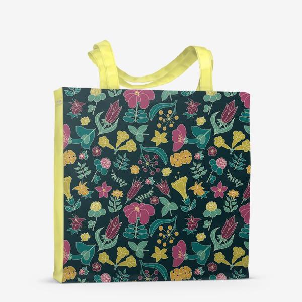 Сумка-шоппер «Тропические цветы на черном фоне»