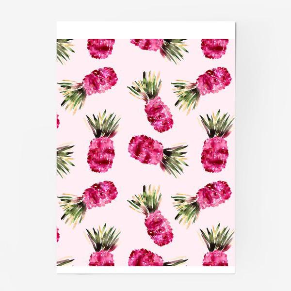 Постер «Розовые ананасы»