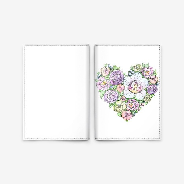 Обложка для паспорта «сердце из цветов»