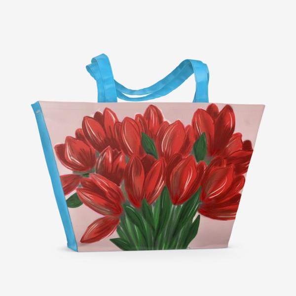 Пляжная сумка «Красные тюльпаны»