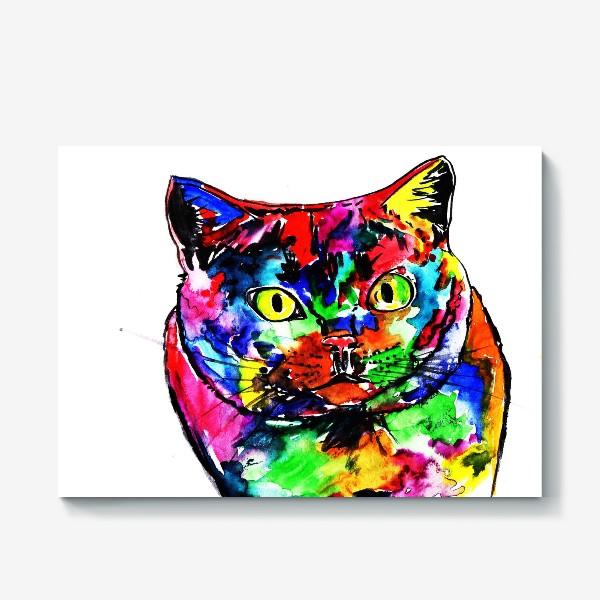 Холст «Кот неон»