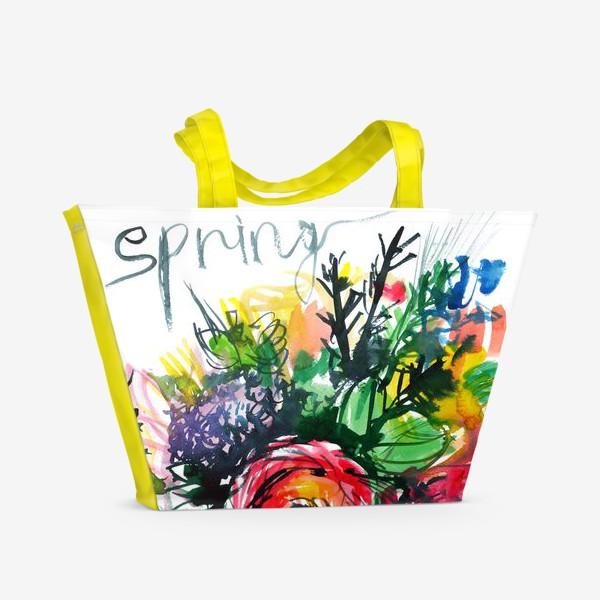 Пляжная сумка «разноцветный букет с большим красным лютиком в центре, весна»