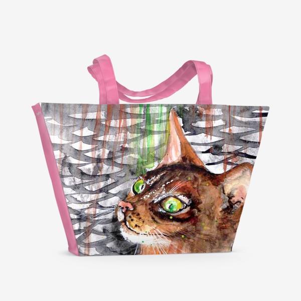 Пляжная сумка «Рыжая кошка мечтает о рыбке»